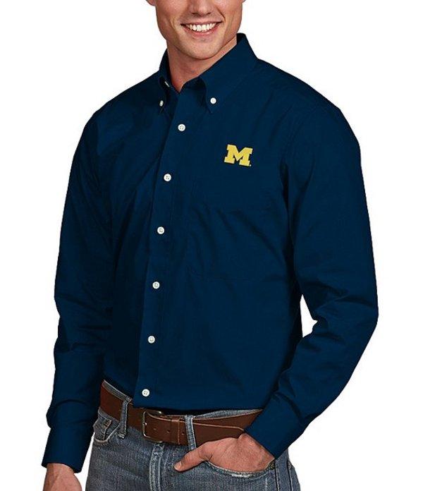 アンティグア メンズ シャツ トップス NCAA Dynasty Long-Sleeve Woven Shirt Michigan Wolverines