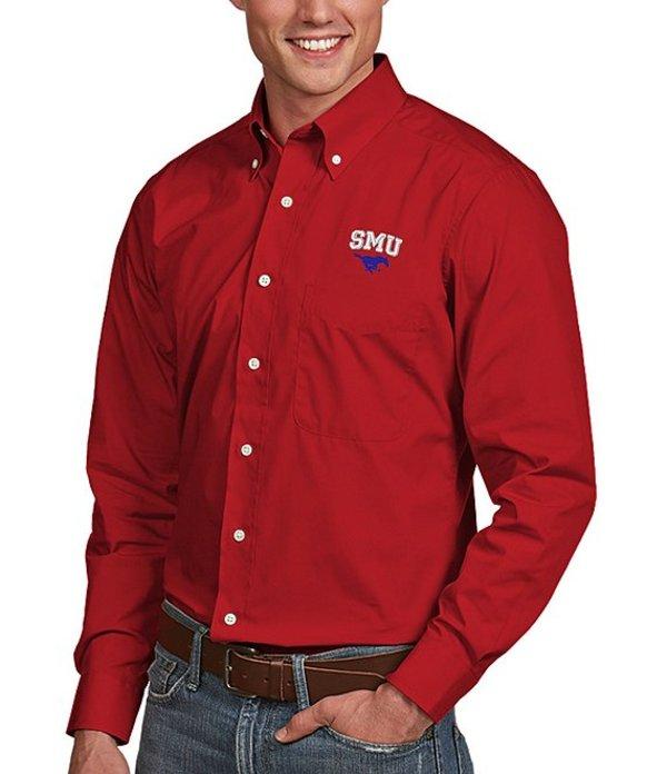 アンティグア メンズ シャツ トップス NCAA Dynasty Long-Sleeve Woven Shirt SMU Mustangs