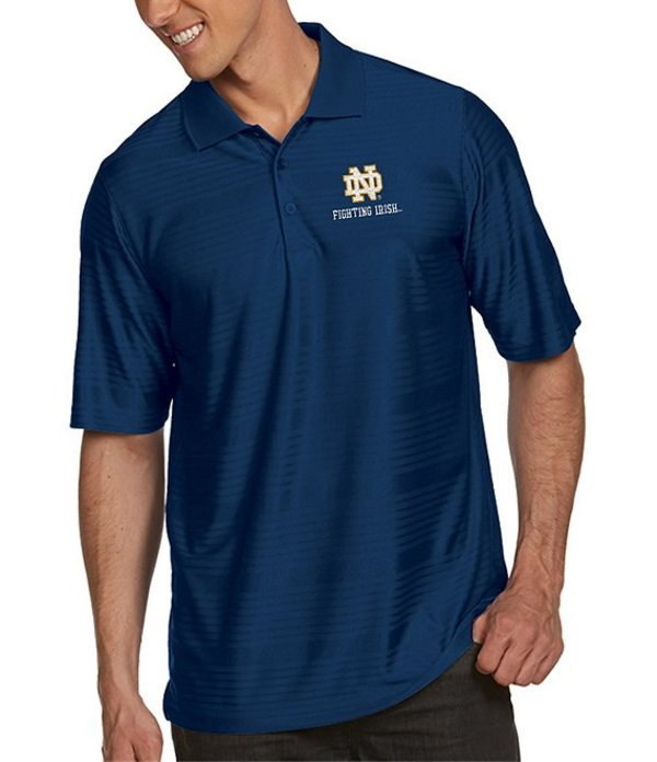 アンティグア メンズ シャツ トップス NCAA Illusion Short-Sleeve Polo Shirt Notre Dame Fighting Irish Navy
