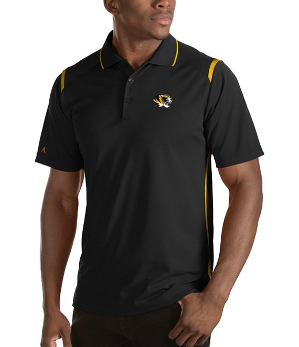 アンティグア メンズ シャツ トップス NCAA Merit Short-Sleeve Polo Shirt Missouri Tigers Black/Gold