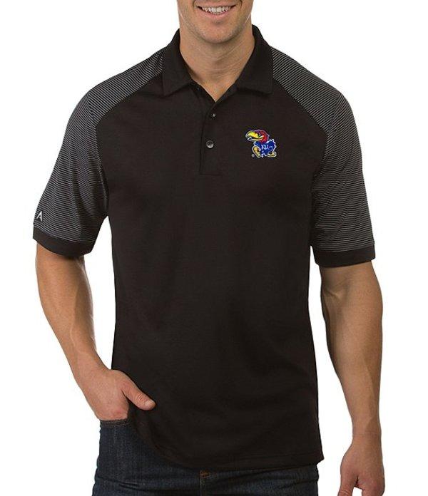 アンティグア メンズ シャツ トップス NCAA Engage Short-Sleeve Polo Shirt Kansas Jayhawks Black