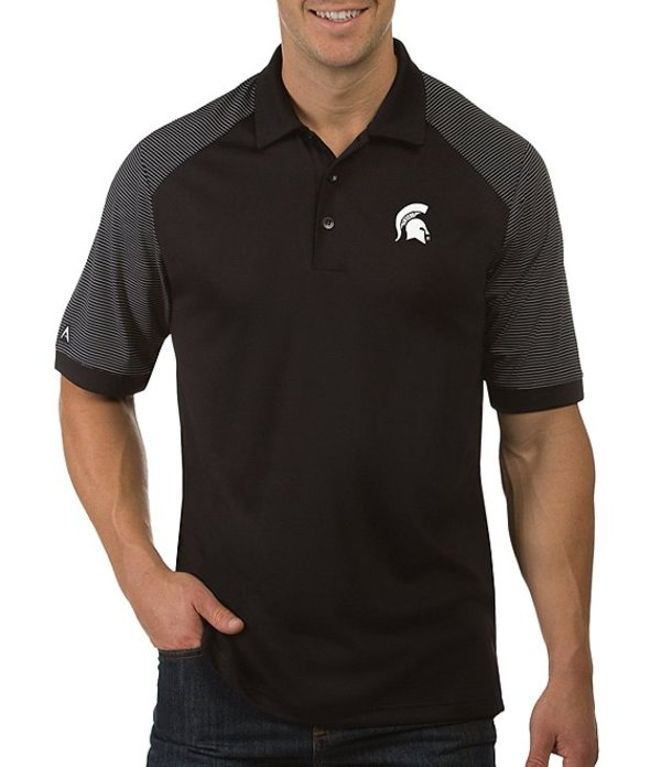 アンティグア メンズ シャツ トップス NCAA Engage Short-Sleeve Polo Shirt Michigan State Spartans Black
