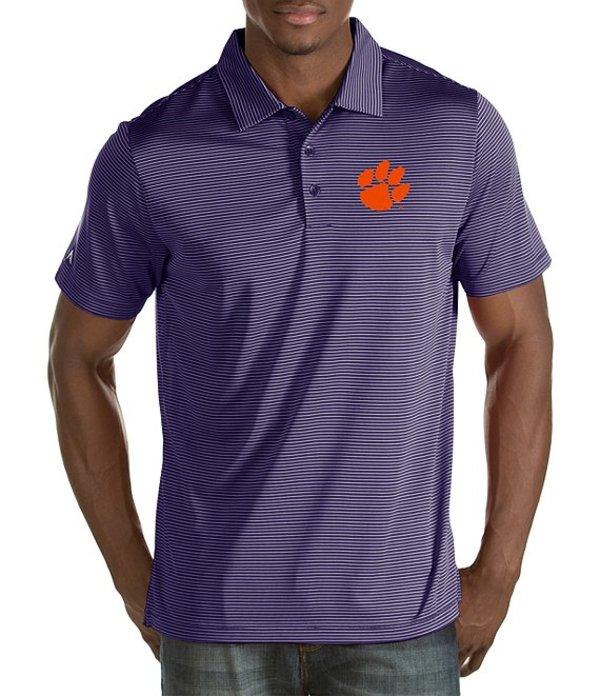 アンティグア メンズ シャツ トップス NCAA Quest Short-Sleeve Polo Shirt Clemson Tigers/Dark Purple