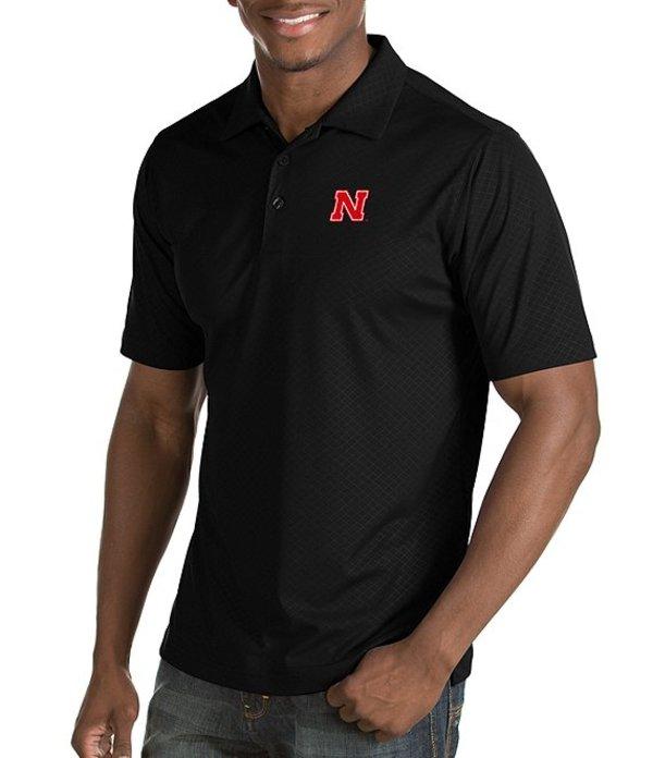 アンティグア メンズ シャツ トップス NCAA Inspire Short-Sleeve Polo Shirt Nebraska Cornhuskers Black