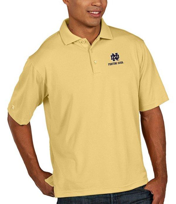 アンティグア メンズ シャツ トップス NCAA Pique Xtra-Lite Short-Sleeve Polo Shirt Notre Dame Fighting Irish/Vegas Gold