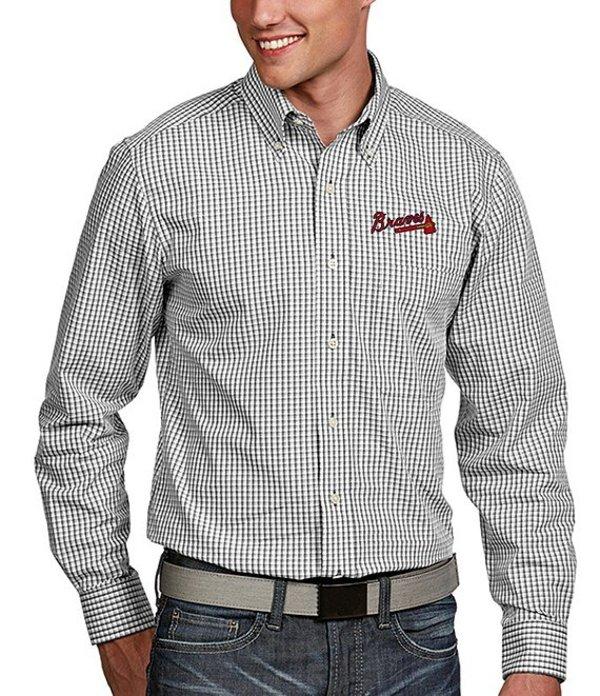 アンティグア メンズ シャツ トップス MLB Associate Long-Sleeve Woven Shirt Braves White