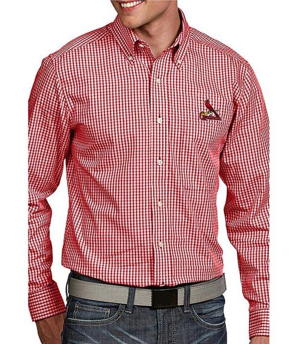 アンティグア メンズ シャツ トップス MLB Associate Long-Sleeve Woven Shirt Cardinals Red