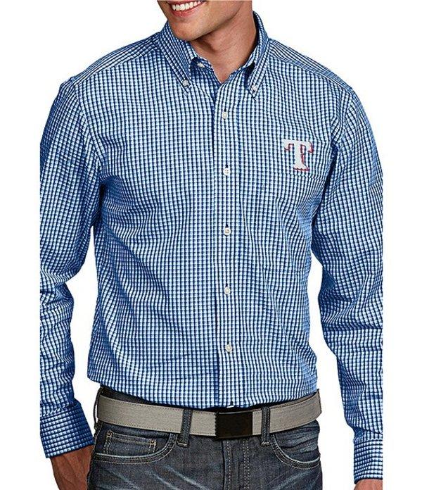 アンティグア メンズ シャツ トップス MLB Associate Long-Sleeve Woven Shirt Rangers Royal Blue