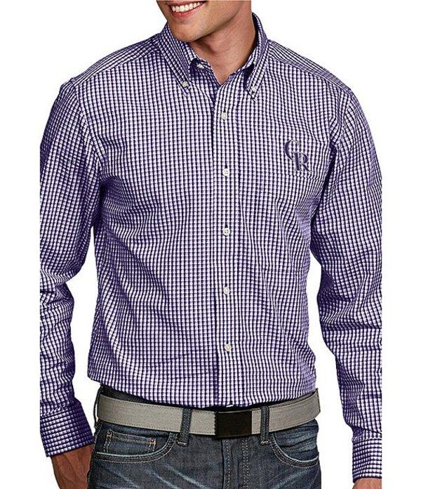 アンティグア メンズ シャツ トップス MLB Associate Long-Sleeve Woven Shirt Rockies Purple