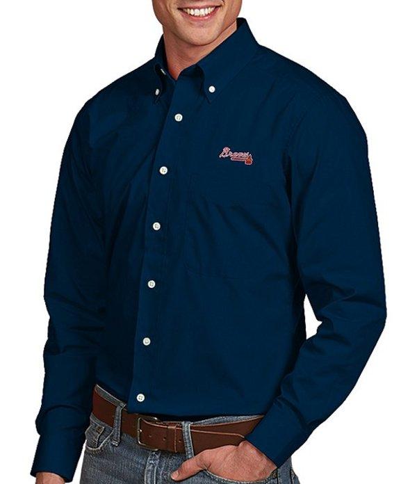 アンティグア メンズ シャツ トップス MLB Dynasty Long-Sleeve Woven Shirt Atlanta Braves Navy