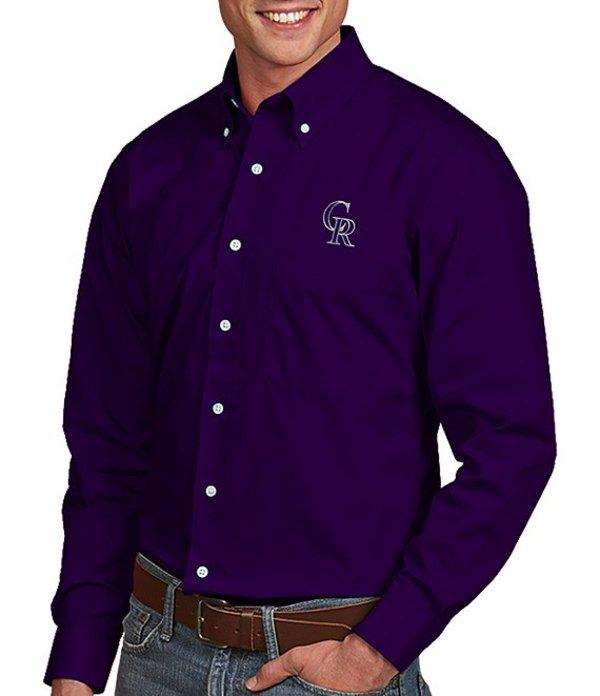 アンティグア メンズ シャツ トップス MLB Dynasty Long-Sleeve Woven Shirt Colorado Rockies Purple