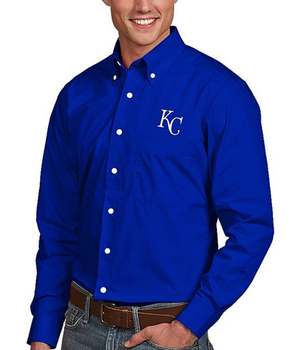 アンティグア メンズ シャツ トップス MLB Dynasty Long-Sleeve Woven Shirt Kansas City Royals Dark Royal