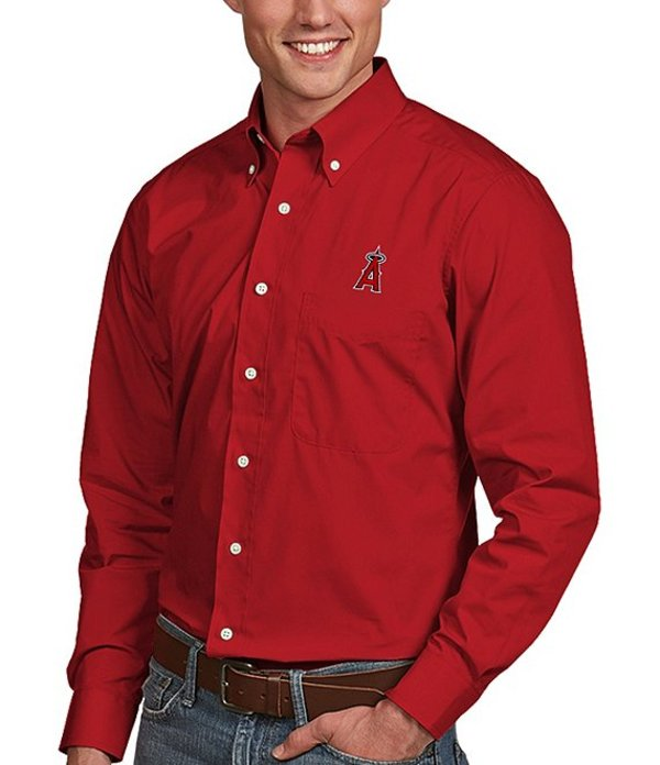 アンティグア メンズ シャツ トップス MLB Dynasty Long-Sleeve Woven Shirt Los Angeles Angels Dark Red