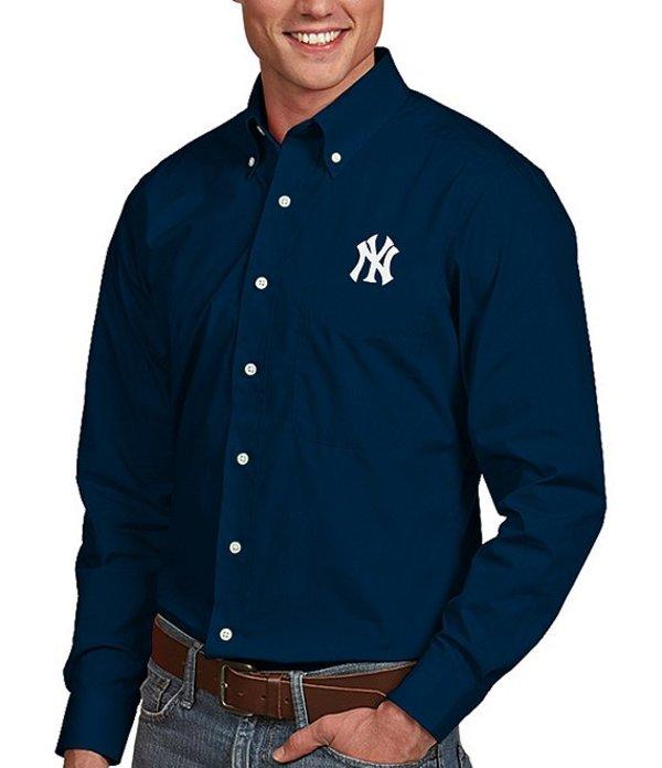 アンティグア メンズ シャツ トップス MLB Dynasty Long-Sleeve Woven Shirt New York Yankees Navy