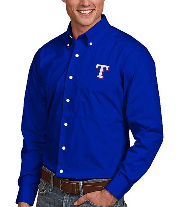 アンティグア メンズ シャツ トップス MLB Dynasty Long-Sleeve Woven Shirt Texas Rangers Dark Royal