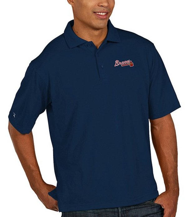 アンティグア メンズ シャツ トップス MLB Pique Xtra-Lite Short-Sleeve Polo Shirt Braves Navy