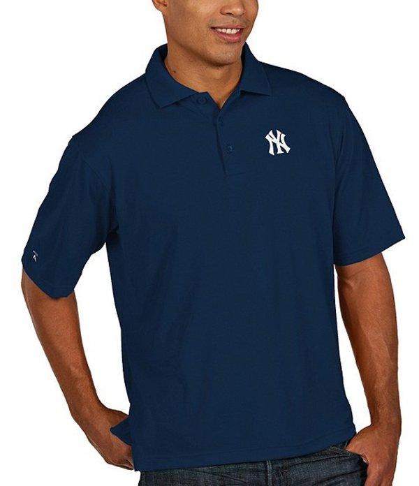 アンティグア メンズ シャツ トップス MLB Pique Xtra-Lite Short-Sleeve Polo Shirt Yankees Navy
