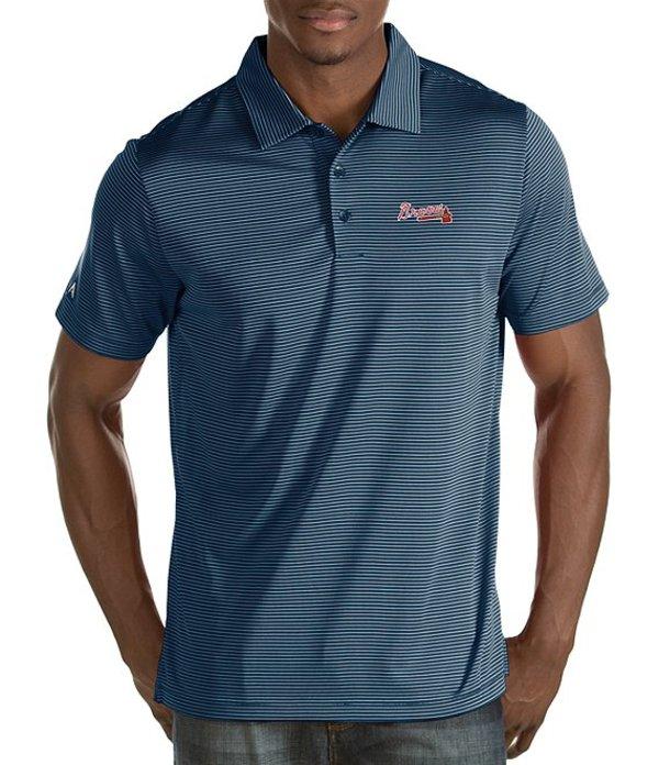 アンティグア メンズ シャツ トップス MLB Quest Short-Sleeve Polo Shirt Atlanta Braves Navy