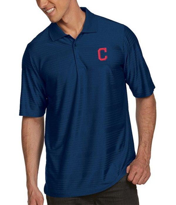 アンティグア メンズ シャツ トップス MLB Illusion Short-Sleeve Polo Shirt Cleveland Indians Navy