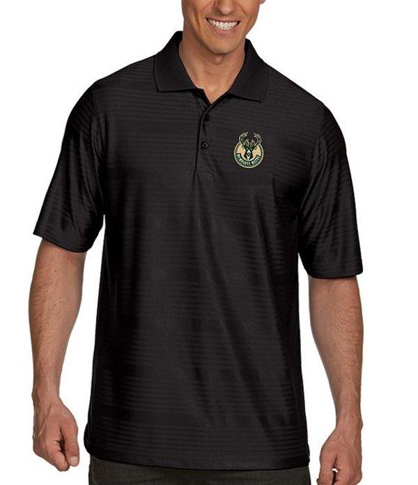 アンティグア メンズ シャツ トップス NBA Illusion Short-Sleeve Polo Shirt Milwaukee Bucks Black