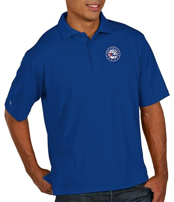 アンティグア メンズ シャツ トップス NBA Pique Xtra-Lite Short-Sleeve Polo Shirt Philadelphia 76ers Dark Royal