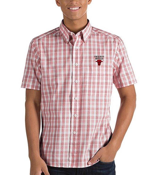 アンティグア メンズ シャツ トップス NBA Crew Short-Sleeve Woven Shirt Chicago Bulls Dark Red