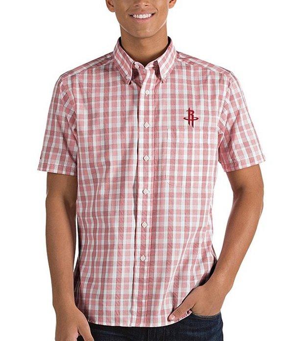 アンティグア メンズ シャツ トップス NBA Crew Short-Sleeve Woven Shirt Houston Rockets Dark Red