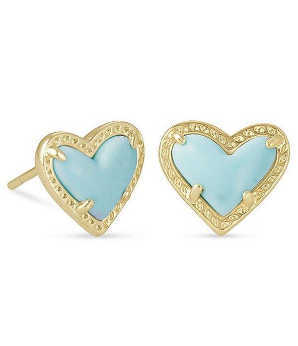 送料無料 サイズ交換無料 ケンドラスコット 半額 レディース アクセサリー ピアス イヤリング Heart 品質保証 Stud Blue Ari Earrings Gold Magnesite