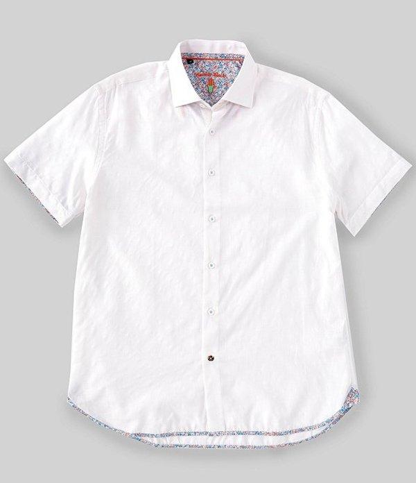 送料無料 サイズ交換無料 ビスコッティ メンズ トップス シャツ White Shirt Big Woven Solid Jacquard Tall Short-Sleeve 引き出物 無料