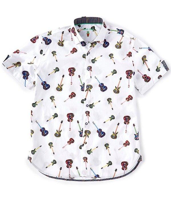 送料無料 サイズ交換無料 世界の人気ブランド 誕生日プレゼント ビスコッティ メンズ トップス シャツ White Guitar Short-Sleeve Woven Tall Big Print Shirt