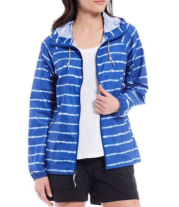 送料無料 サイズ交換無料 輸入 国内在庫 コロンビア レディース アウター パーカー スウェット Lapis Blue Tie Long Tie-Dye Packable Hill Windbreaker Printed Sleeve Dye Stripe Side
