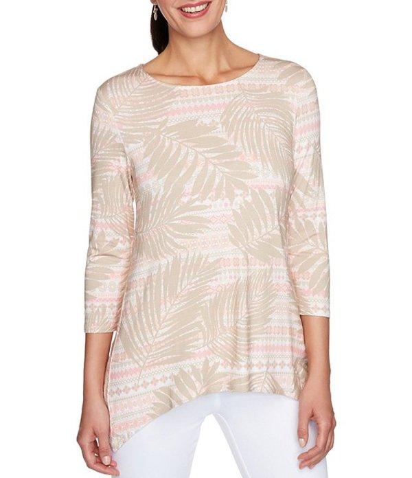 レディース Top 3/4 Print Handkerchief Hem ルビーアールディー Palm Rattan Multi Stripe Tシャツ Sleeve Knit トップス