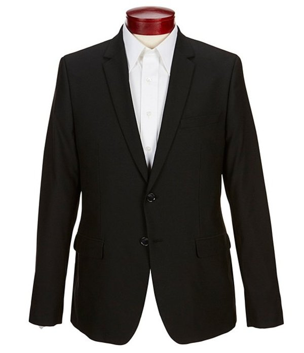 カルバンクライン メンズ ジャケット・ブルゾン アウター Slim-Fit Infinite Cool Fine Cord Stripe Suit Separates Blazer Black