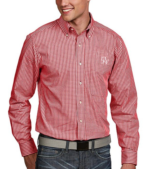 アンティグア メンズ シャツ トップス NCAA Associate Long-Sleeve Woven Shirt Houston Cougars