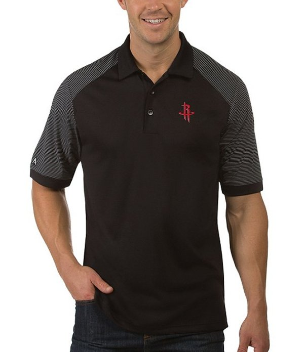 アンティグア メンズ シャツ トップス NBA Engage Short-Sleeve Polo Shirt Houston Rockets Black