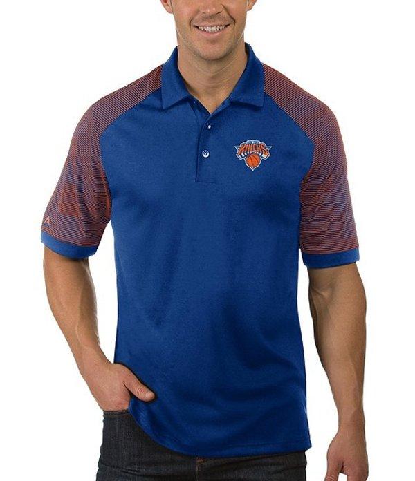 アンティグア メンズ シャツ トップス NBA Engage Short-Sleeve Polo Shirt New York Knicks Dark Royal/Orange
