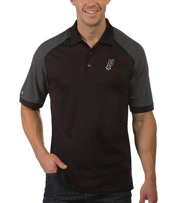 アンティグア メンズ シャツ トップス NBA Engage Short-Sleeve Polo Shirt San Antonio Spurs Black