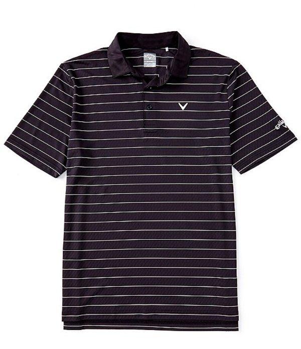 キャラウェイ メンズ シャツ トップス Golf Short-Sleeve Vent Stripe Polo Caviar