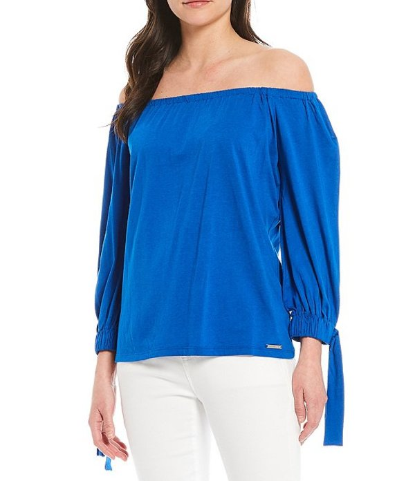 MICHAEL Top マイケルコース Jersey Off-The-Shoulder Kors トップス Michael Grecian Blue Tie-Sleeve Knit レディース Tシャツ Solid
