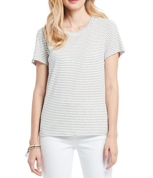 レディース Short Multi ニックアンドゾー Knit Green Tee Round Mini Tシャツ Neck Stripe トップス Sleeve Cape