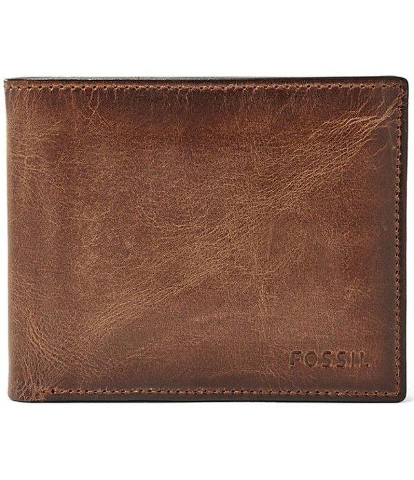 フォッシル メンズ 財布 アクセサリー Derrick Leather RFID-Blocking Passcase Brown