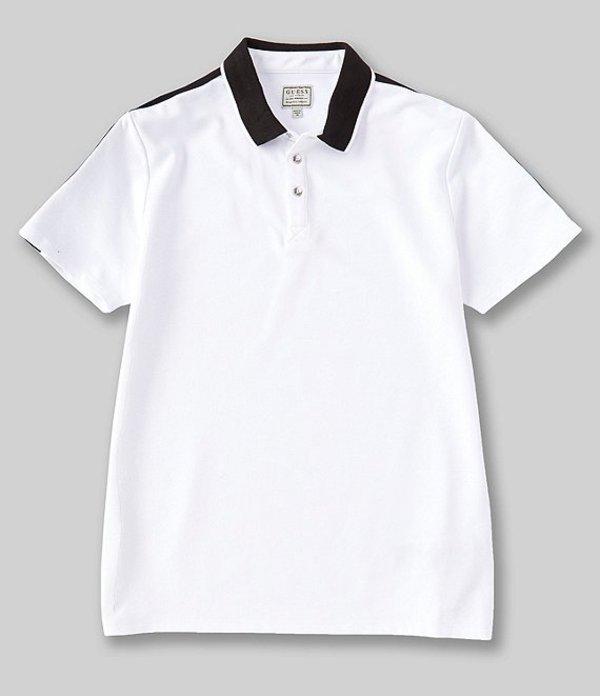 ゲス メンズ シャツ トップス Short-Sleeve Pique Guess Tape Polo Pure White