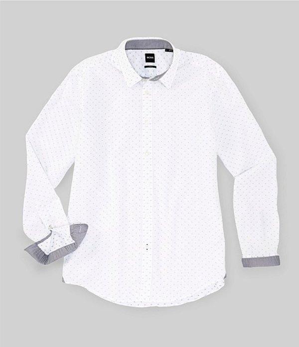 ヒューゴボス メンズ シャツ トップス BOSS Slim-Fit Ronni Mini-Print Long-Sleeve Woven Shirt White