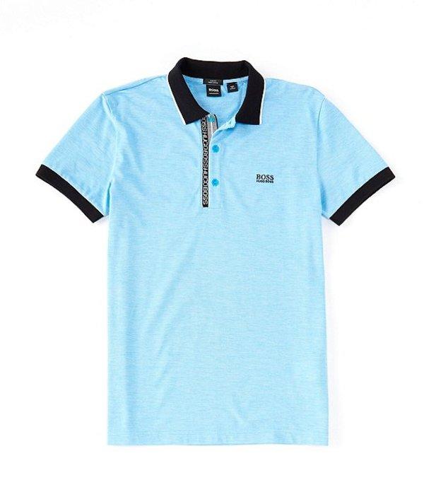ヒューゴボス メンズ シャツ トップス BOSS Slim-Fit Paule Oxford Short-Sleeve Polo Shirt Bright Blue
