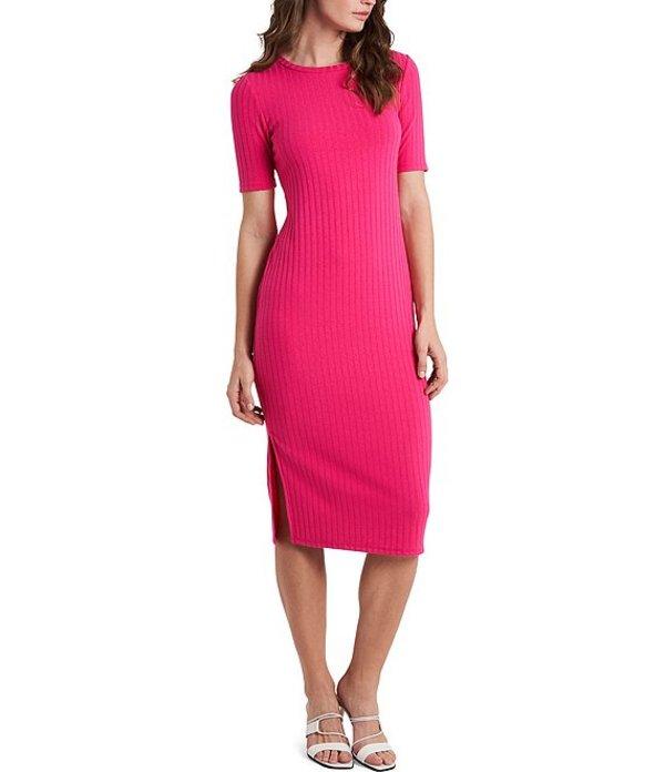 Sleeve Bright Midi Hibiscus Short トップス Dress ヴィンスカムート レディース ワンピース Rib Knit