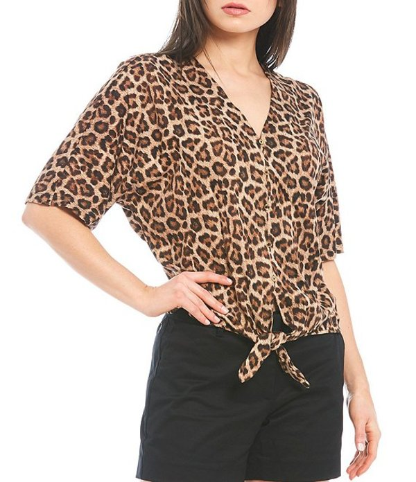 Camel Print Elbow トップス Dark Nubian Button MICHAEL Front V-Neck Jersey Tシャツ Michael Top マイケルコース Sleeve Kors Tie Knit レディース