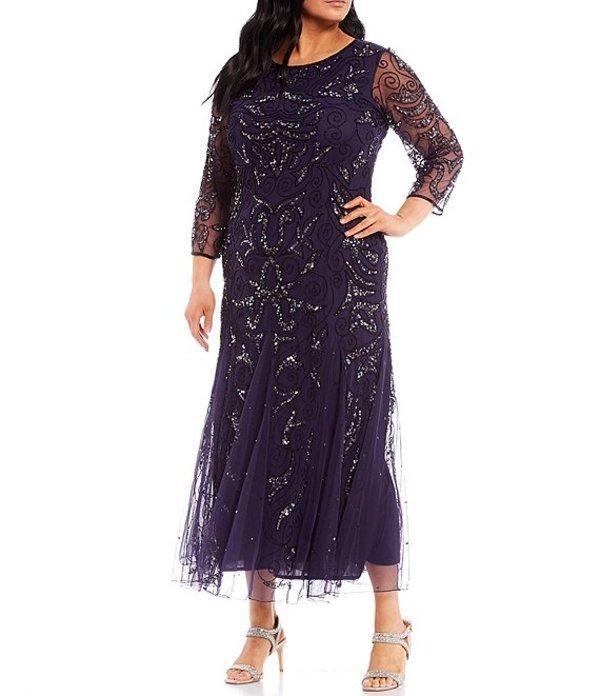 【タイムセール!】 ピサッロナイツ レディース ワンピース トップス Plus Size Plus 3/4 トップス Sleeve ワンピース Beaded Gown Midnight, 超格安一点:695dfe4a --- promilahcn.com