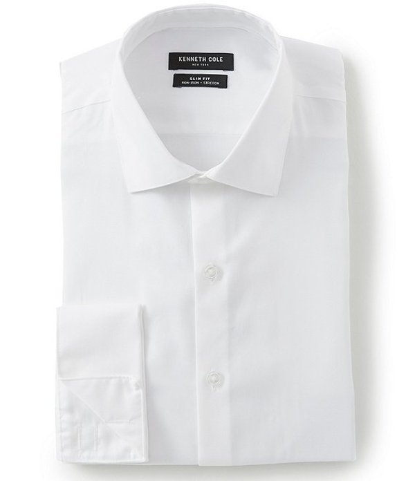 ケネスコール メンズ シャツ トップス Non-Iron Slim Fit Spread Collar French Cuff Solid Dress Shirt White