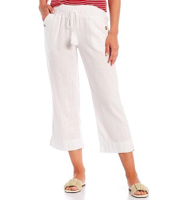 ウエストバウンド レディース カジュアルパンツ ボトムス Wide Leg Linen Capri Pants White