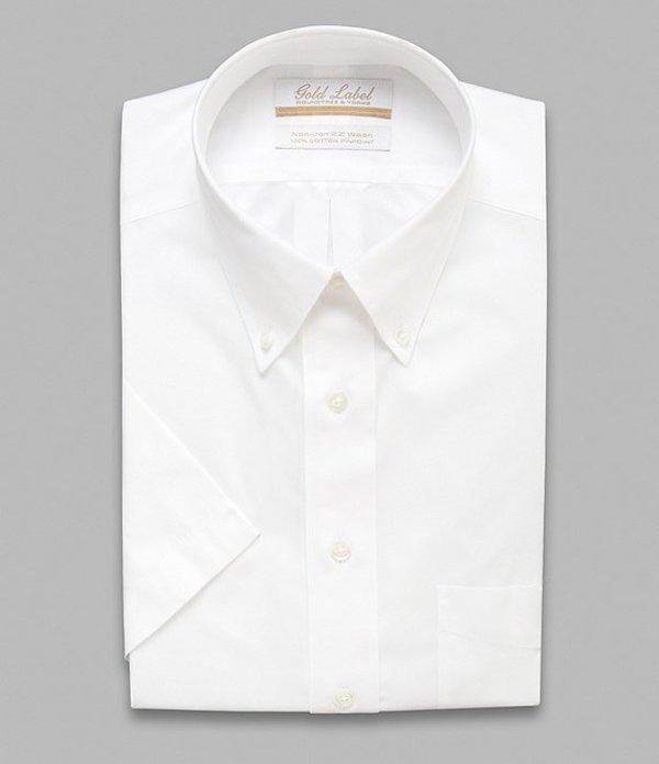 ラウンドトゥリーアンドヨーク メンズ シャツ トップス Gold Label Roundtree & Yorke Non-Iron Full-Fit Button-Down Collar Solid Short-Sleeve Dress Shirt White